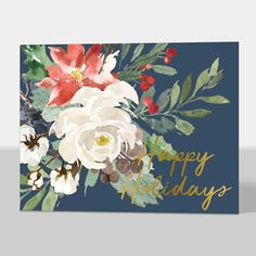 Floral Foil Happy Holiday Folded Cards
