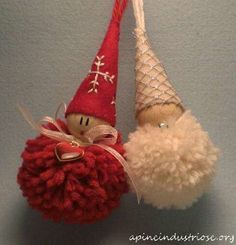 Christmas Decorations set of 4 hand embroidered (free P) - Christmas DIY Diy Christmas Ornaments, Felt Ornaments, Homemade Christmas, Holiday Crafts, Christmas Gnome, Christmas Projects, Kids Christmas, Crochet Christmas, Pom Pom Crafts