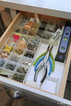 Organizing idea: make a hardware drawer using bead storage containers. Maximize space throughout your home with our creative drawer organizing tips and products that will help you stay organized. Bead Organization, Bead Storage, Craft Room Storage, Storage Ideas, Craft Storage Containers, Smart Storage, Craft Rooms, Garage Storage, Storage Solutions
