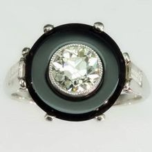 Diamond and Onyx Disc Platinum Ring