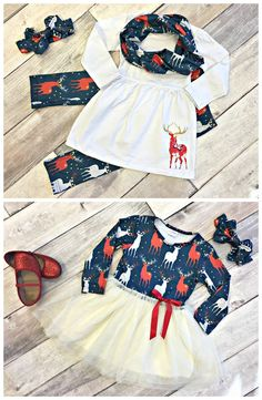 Darling Deer Collection: a pant set and tutu dress at a bargain price for one week only! Outfits Niños, Kids Outfits, Baby Outfits, Little Girl Outfits, Toddler Outfits, Baby Girl Fashion, Kids Fashion, Womens Fashion, Vetement Fashion