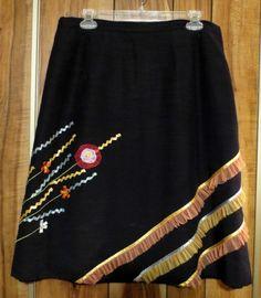 Woman's Indigo Moon Black Floral & Ribbon Skirt Size XL
