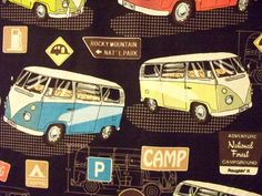 Retro VW Bus Signs Black Cotton Fabric by scizzors on Etsy, $2.99