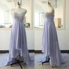 Lavender High-lower Prom Dress Beading Crystal Backless Evening dress Custom Wedding Party Gown Sexy Sweetheart Bridal Wedding Party Gown