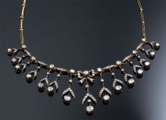 Edwardian Rose Cut Diamond Necklace D=15.00cts app Yellow Gold  $25K