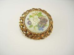 Vintage Hand Painted Pendant Cameo Flowers by NeatstuffAntiques, $30.00