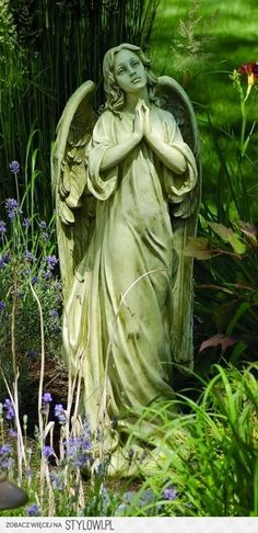 angel in the garden www.allaboutrosegardening.com #garden angel #angel garden statue
