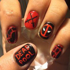 Crazy Nails, Funky Nails, Pretty Nail Art, Cute Nail Art, Iron Man Nails, Superhero Nails, Marvel Nails, Mens Nails, Disney Nails