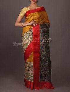 Divya Mustard Red #Printed #SilkSaree with #MadubaniPrints