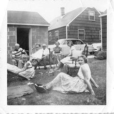 Black and White Vintage Snapshot Photograph Family Back Yard Cars Dress 1950'S | eBay