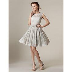 homecoming+knielange+kanten+bruidsmeisje+jurk+-+zilver+a-lijn+/+prinses+juweel+–+EUR+€+78.39