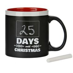 Days Until Christmas Chalk Mug ($6.99) ❤ liked on Polyvore featuring home, kitchen & dining, drinkware, wizard of oz mug, oz cup, christmas mugs, white mugs and black chalk board