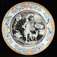 En grisaille and enamel dinner plate with John Cecil, Lord Burghley (1674-1721) later the 6th Earl of Exeter, after a portrait by William Wissing, Qianlong period (1736-95) c.1740 (porcelain)