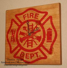 Firefighter Clock Hand Painted by DeenasDesign - https://www.facebook.com/DeenasDesign - $47.00