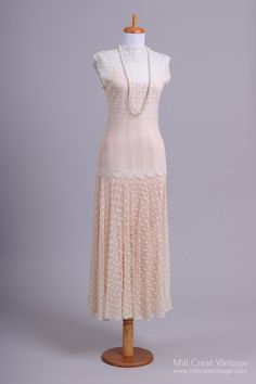 1920's Custom Designed Sheer Lace Knit Vintage Wedding Gown : Mill Crest Vintage