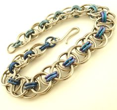 Chainmail Bracelet Kit - Stainless Steel and Niobium Parallel Chain or Helm Weave - Intermediate. $30.00, via Etsy.