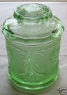 old green depression glass cookie biscuit jar lidded nr I have never seen this one before.