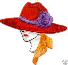 RED HAT FASHION LADY (D) EMBROIDERED IRON ON APPLIQUE PATCH