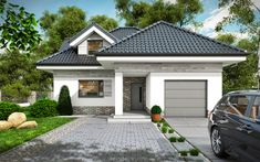 Projekt+Maja Modern Bungalow House Plans, Dream House Plans, Morden House, Architectural House Plans, Compact House, Three Bedroom House, Small Cottages, House Front Design, My Ideal Home
