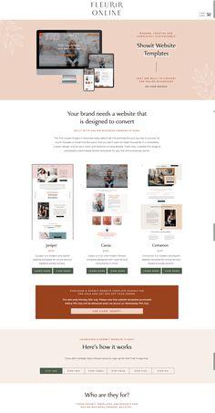 Website layout for pre-made themes by Fleurir Online Web Design Examples, Simple Web Design, Homepage Design, Web Design Trends, Design Blog, Ppt Design, Design Ideas, Website Design Inspiration, Beautiful Website Design