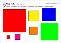 Cutting skills worksheets - shapes and size ordering (SB4910) - SparkleBox