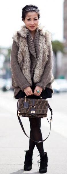 sweater. booties  handbag.  hair