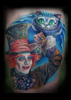 Mad Hatter and Cheshire Cat tattoo!
