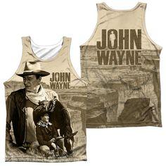 JOHN WAYNE/STOIC COWBOY (FRONT/BACK PRINT)-ADULT 100% POLY TANK TOP-WHITE