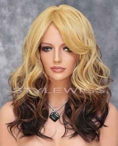 Long Heat OK Loose Curls Wavy Wig Ombre Shade Blonde to Brown Mix ABAR 234 #FullWig