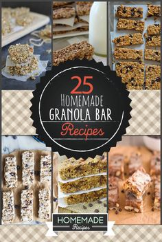 25 Homemade Granola Bar Recipes To Keep You On The Go : Are you craving the best homemade granola bar recipe? Are you tired of making unhealthy granola? Check out these delicious homemade granola bar recipes! Homemade Granola Bars, Low Calorie Granola Bars Recipe, Snack Recipes, Cooking Recipes, Granola Bar Recipes, Breakfast Bars, Lunch Snacks, Healthy Treats, The Best