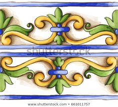 Stock Photo and Image Portfolio by Tetiana Denysenko Azulejos Art Nouveau, Art Nouveau Tiles, Tile Patterns, Pattern Art, Pattern Design, Painted Barn Quilts, Painted Books, Indian Art Paintings, Easy Paintings