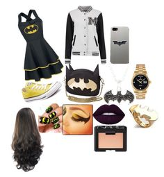 """going to prom BATMAN style"" by daisyroseypotter ❤ liked on Polyvore featuring Converse, Rolex, Noir, Lime Crime and NARS Cosmetics"