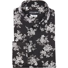 Dolce & Gabbana Black And White Floral Print Cotton 'gold' Point... ($520) ❤…