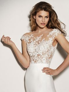Xenine: Exquisite illusion bodice in crystal tulle and beading that will make you sparkle. Pronovias 2018 Collection