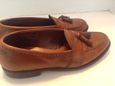 Allen Edmond Mens Solid Brown Leather Harvard Tassel Loafers Size 11 D USA Made #Allen #LoafersSlipOns