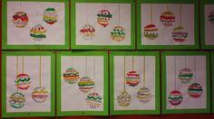 Schilder mooie patroontjes in een sjabloon van een kerstbal. Na drogen een lintje opplakken. Groep 3/4 dec. 2013. Makkelijk met een leuk effect!