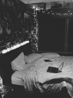 #interior #interiordesign #dark #bedroom #laptop #fairylights #lantern