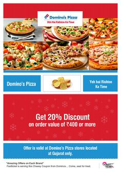 Grab this super offer of #DominosPizza this #Monsoon ! Give yourself a dose of #Delicacy from Dominios brought to you by Fastticket.in.   Book your #Movie tickets or Do #Mobile #Recharges & grab the offer of the Day!