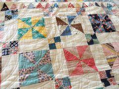 Pretty Pinwheel Quilt Hand Quilted Vintage - multi pinwheel inspiration