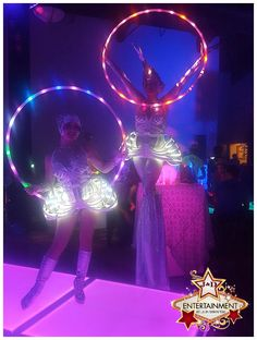 Abstract and futuristic costuming is a fabulous way to add some light to your dance floor! LED costume, Madonna, space girls, holiday party, quinceanera, bar mittzvah, J&D Entertainment in Houston, TX www.jdentertain.com