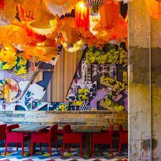 Location aside, in our opinion, the fiery jewel in Generator's crown is the Fiesta Gràcia Bar, the ceiling festooned with flame coloured lanterns, the walls layered with collage murals...