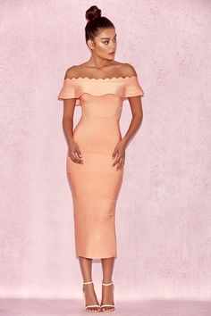 e2952852 'Amadea' Light Orange Fluted Off Shoulder Dress. 'Amadea' with her  beautiful deep off the shoulder cut features a feminine fluted detail to  the top, ...
