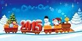 NOEL : Hediyeler, kardan adam ve noel ağacı ile bir oyuncak tren Yeni Yıl 2015 ve Santa Claus.