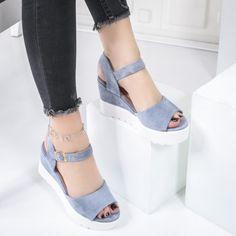 Sandale cu platforma dama albastre Carey