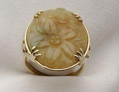 Vintage Golden Jade Ring