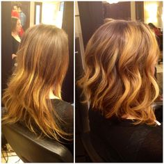 Hair Makeover, Before and After. Long A line bob and fresh Balayage topped off with soft curls.