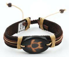 White Tribal Skull Pendant Design JewelryVolt Genuine Brown Leather Bracelet