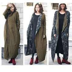 awesome Boho Style long coat dress Linen 2 face wear for tall womens clothing( B347)...