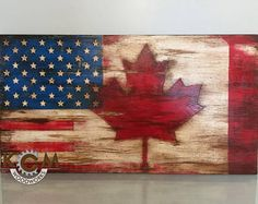 Engraved US American Canada Combo Flag Hand painted Rustic Wood Sign Custom Distressed Sign Home Wall Decor Rustic Wood Signs American Canada Combo Custom Decor Distressed Engraved Flag Hand Home Painted Rustic Sign Wall Wood American Flag Pallet, American Flag Decor, Wooden Wall Decor, Home Wall Decor, Wall Wood, Distressed Signs, Flag Painting, Wood Flag, Flag Signs
