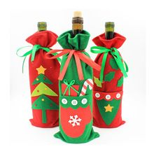 wine bottle cover christmas tree glove candy bag felt christmas wine bottle liquor bag